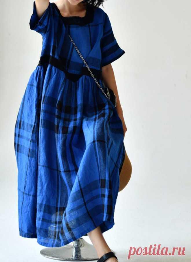 Blue plaid Linen dress for women linen dress with pockets   Etsy