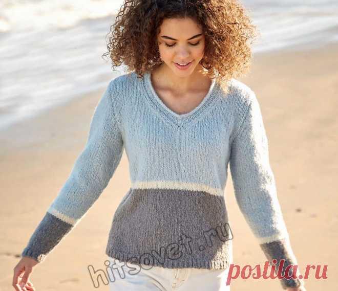 Стильный трёхцветный пуловер спицами - Хитсовет
