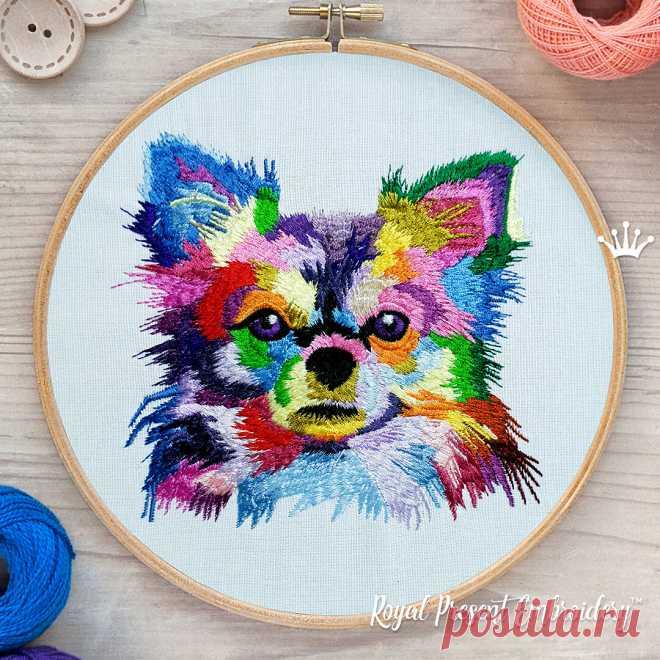 Красочная собака чихуахуа Дизайн машинной вышивки