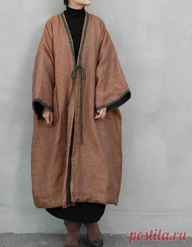 Winter Linen padded coat oversized long coat Plus Size | Etsy