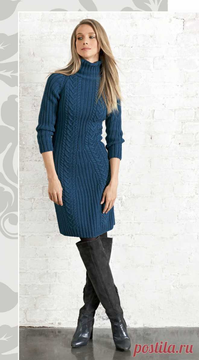 Blue dress spokes with a sleeve a raglan - the Portal of needlework and fashion