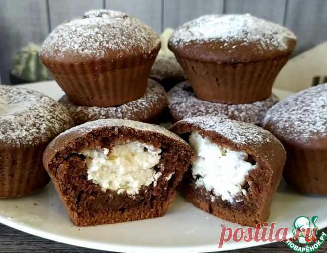 Шоколадные кексы с творожной начинкой – кулинарный рецепт