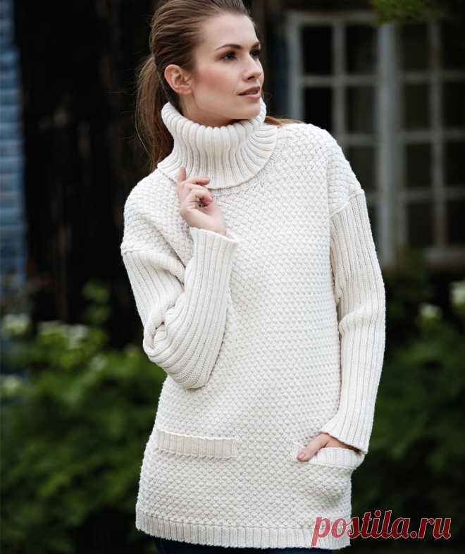 белый свитер с карманами схема вязания спицами вяжем свитеры на
