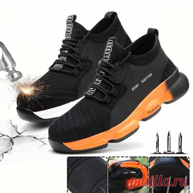 Unisex safety work shoes flying weaving steel toe cap running shoes camping climbing walking jogging sneakers Sale - Banggood.com