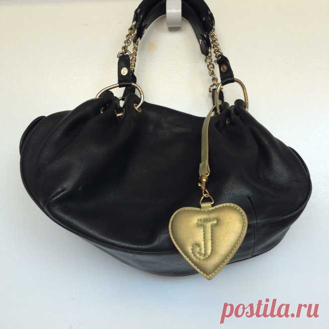 JUICY COUTURE Black Leather Handbag / Purse Hobo Style with Dust Bag   eBay