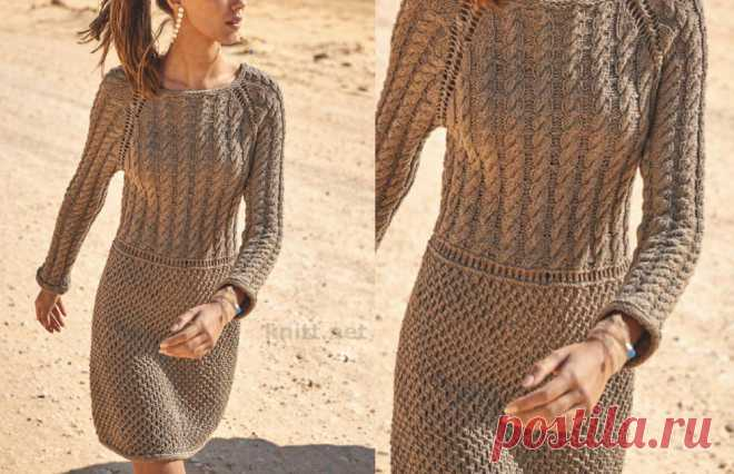 Платье с коллажем рельефных узоров Платье с коллажем рельефных узоров. Модные вязаные платья обязательно должны быть в весеннем гардеробе. Особенно это, выполненное без швов,
