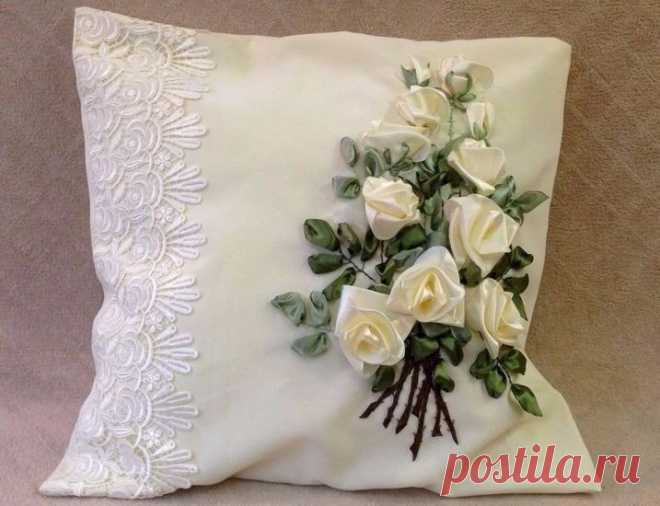 Вышивка лентами на подушках — Сделай сам, идеи для творчества - DIY Ideas