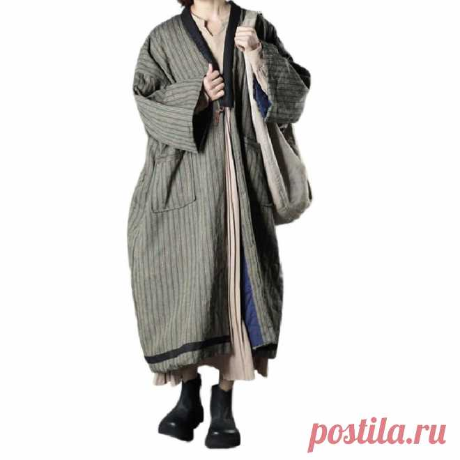 Oversized retro striped cotton jacket warm winter coat | Etsy