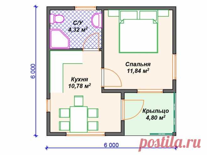Каркасный дом одноэтажный V420