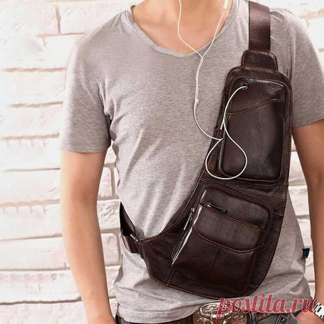 Men Solid Genuine Leather Headphone Plug Crossbody Bag Chest Bag Sling Bag - US$39.99