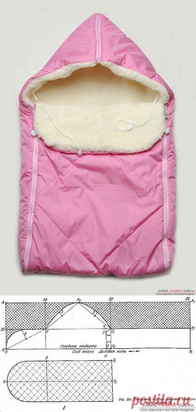 Выкройка тёплого конверта для новорожденного фото 649